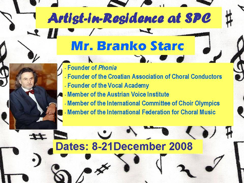 Mr. Branko Starc -- Artist-in-Residence at SPC